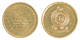 5 Sri Lankan rupee coin Royalty Free Stock Photography