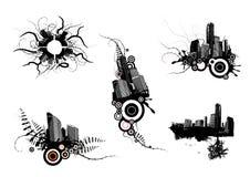 5 Stadtauslegungen. Vektor lizenzfreie abbildung