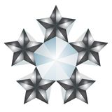 5 stars. Illustration of 5 silver stars isolated over white background Stock Photography