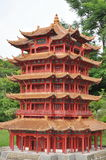 5-storey of a red pagoda Stock Photography