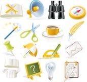 5 symbolsobjekt part den set vektorn Royaltyfri Bild