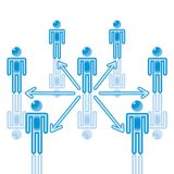 5. Teamwork-Kommunikation im Blau. stock abbildung
