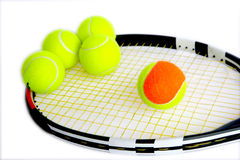 5 tennis and tennis rackets Royalty Free Stock Photos