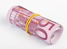 5 thousand Euro rolled up Stock Photos