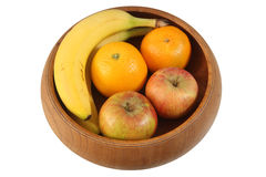 5 tipos de fruta na curva de madeira Imagens de Stock