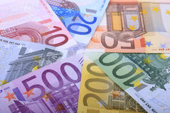From 5 to 500. Complete set of european banknotes from 5 to 500 hundred euros Stock Image