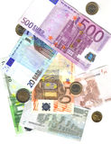 From 5 to 500 euro and coins Royalty Free Stock Photography