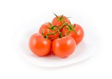 5 Tomaten in der Platte Stockbild