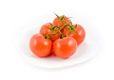 5 tomatos in plate Stock Image