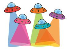 5 UFOs with beams. Cartoon illustration Royalty Free Stock Images