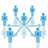 5. Uma comunicação dos trabalhos de equipa no azul. ilustração stock