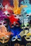 5 venetian karnevalmaskeringar Royaltyfri Fotografi