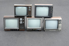 5 vintage TV sets Royalty Free Stock Images