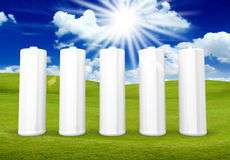 5 White battery Royalty Free Stock Images