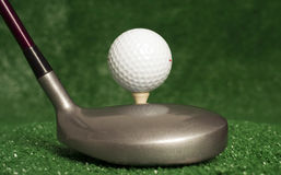 5 Wood Sitting in Front of Teed Up Golf Ball Royalty Free Stock Photo