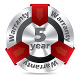 5 year warranty badge design. In silver and red color Stock Photography