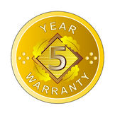 5 year warranty gold medal. Vector art of a gold medal showing 5 year warranty Stock Images