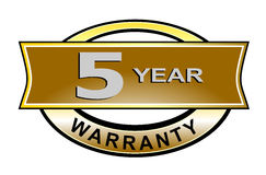 5 year warranty seal belt. Vector art of a 5 year warranty seal belt Stock Image