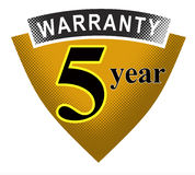 5 year warranty shield Stock Photo