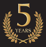 5 years. Golden laurel wreath 5 year, year anniversary, year jubilee Stock Images