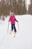5 years old girl cross-country skiing Royalty Free Stock Photo
