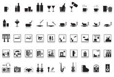 50个图标客栈棒餐馆 库存图片