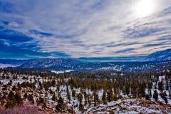50个cludy日高速公路天空雪结构树冬天 免版税库存照片