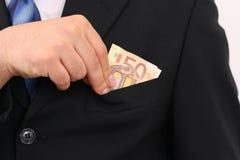 50欧元拥有口袋放置 免版税图库摄影