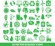 50 ícones da ecologia do vetor Fotos de Stock Royalty Free
