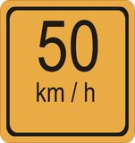 50 скорость знака предела hr km Стоковое Фото