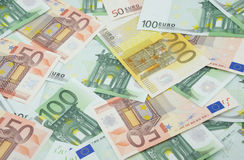 50, 100 en 200 euro bankbiljettenachtergrond Royalty-vrije Stock Afbeelding