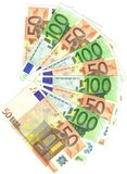 50 and 100 euro notes. Range of 50 and 100 euro notes Royalty Free Stock Photos