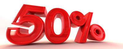 50% 3D Sign. A 3D illustration of 50 Royalty Free Stock Images
