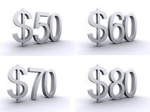 50.60.70.80 dollari illustrazione di stock