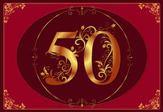 50 anniversary, jubilee, Happy birthday. Red and gold Royalty Free Illustration