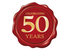50 Anniversary Wax seal Stock Photography