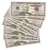 50 billetes de banco de dólar americano Fotografía de archivo libre de regalías