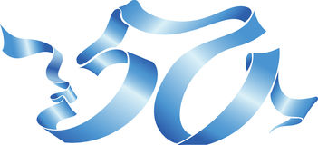 50 blue ribbon. Vector blue ribbon formed 50 number Stock Photo