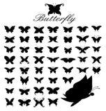 50 butterflies. Silhouette Vector set of 50 butterflies Stock Illustration