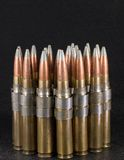 .50 Caliber bullets on black Royalty Free Stock Photography