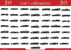50 cars silhouettes. Set of 50 cars silhouettes on one paper Vector Illustration