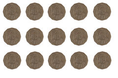 50 cent coins. Rows and rows of Australian 50 cent coins isolated on white Royalty Free Stock Photography