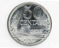 Free 50 Centavos Magnetic Coin, 1970~1986 - Second Cruzeiro Serie, 1977. Bank Of Brazil. Obverse, Issued On 1975 Royalty Free Stock Images - 173098119