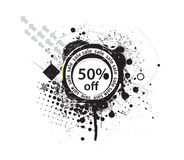 50% discount banner. Shopping concept grunge vector Illustration Stock Photography