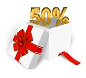 50% discount concept. Shiny golden 50% in the gift box Stock Image