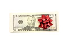 50 Dollar with holidays bow royalty free stock photo