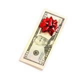 50 Dollar mit Feiertagsbogen Lizenzfreies Stockbild