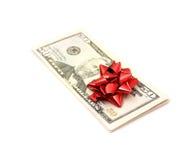 50 Dollar mit Feiertagsbogen Stockfotos