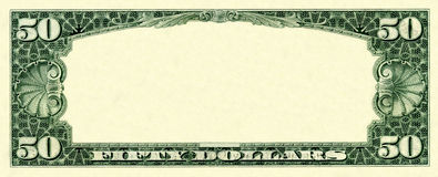 50 dollars frame. Old fifty dollars empty frame isolated on white Stock Photography