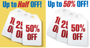 50 dyskontowy z procentu ceny sprzedaży etykietek Zdjęcia Royalty Free